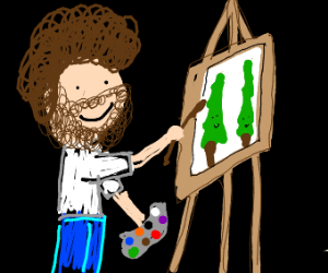 Bob Ross paints happy little pine trees