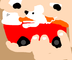 a mouse driving a little toy car