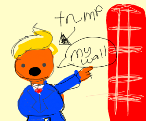 Fat trump pointing at his wall