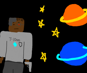 African American Cyborg Minecaft guy in space