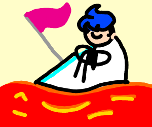 boat on lava river