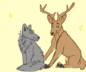 wolf and deer bffs