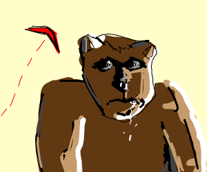 Bear with a boomerang