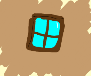 a window floating in the tan/brown void