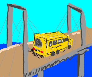 school bus over a bridge