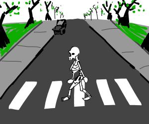skeleton at crosswalk