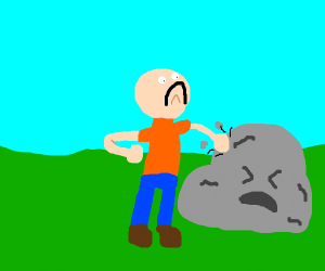 Man beats the devil out of a rock