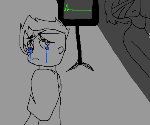 flatline patient w. a chibi crying