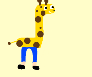 Giraffe with human legs