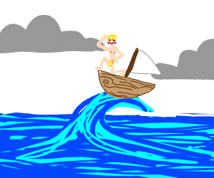 A naked blonde man riding waves with his boat