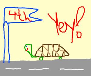 Turtle got 4th in a race