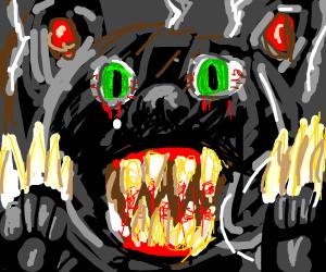 Demonic teddy bear shows its sharp teeth