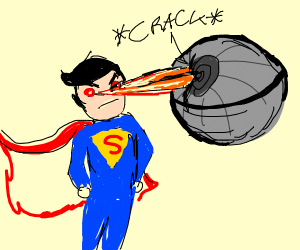 Superman cracks a Death Star with his lasers