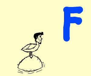 Duck with a mans head and a blue F