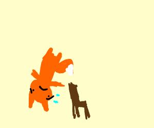anxious fox flips over a chair