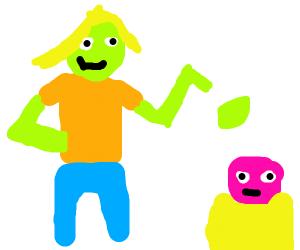 Green woman throws guacamole at pink man