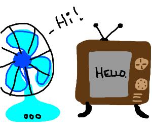 a fan and tv talking