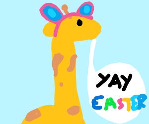 giraffe celebrating easter
