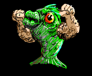 Fish with hairy, muscular, human arms.