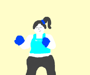 Wii Fit Trainer with boxing gloves on