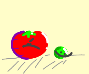 angry tomato and friendly pea