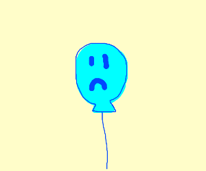Very sad blue balloon