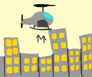 Helicopter rising from city