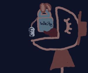 Guy eating a white bag labeled -black-