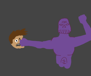 Thanos beats a child with a clenched fist