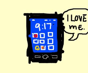 "phone says ""I love myself"""