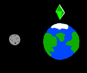 earth and moon have sims emerald