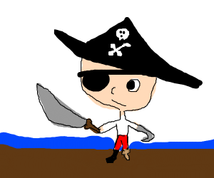Pirate with eyepatch, peg leg, and hook hand