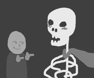 Flirting with skeleton hero