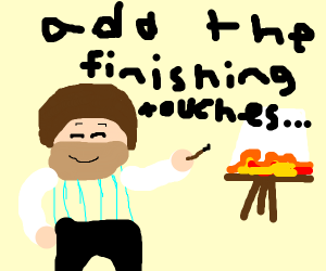 bob ross painting fire