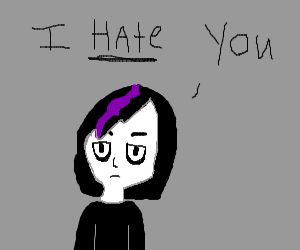 Goth with black/purple hair HATES YOU.