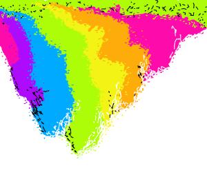 Upside down fuzzy rainbow mountain