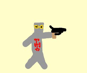 knight with a gun swearing