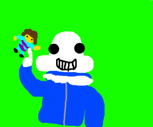 Sans lifts Frisk with 1 percent of power