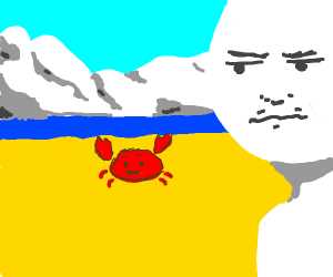 White guy keeping an eye on a nearby crab