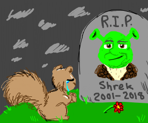 squirrel prays at Shrek's grave