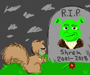 squirrel prays at Shrek's grave