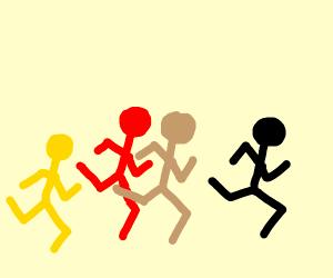 race between various races of men