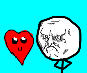 Man angry with a cute heart