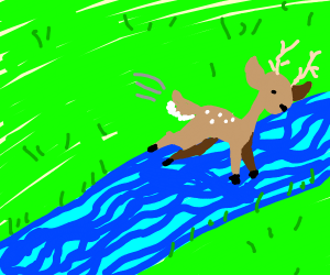 Deer jumping over a River