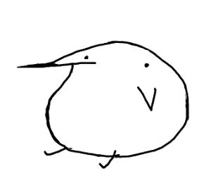 Fat, minimalistic bird