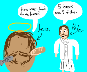 Potato jesus multiplying bread and fish