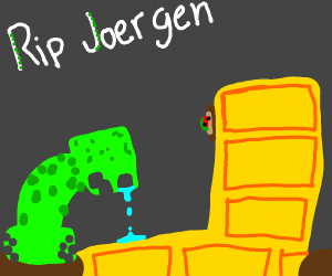 A Creeper Crying Over Joergen's Death