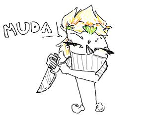 "Sassy Drawception D w/ knife says ""muda"""