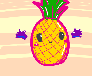 Smiley pineapple friend with cute gloves