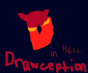 Drawception logo but he is the devil.